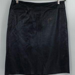 BCBG Maxazria women's skirt black leather mini 12